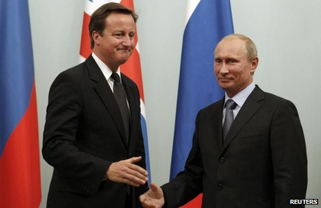 David Cameron and Vladimir Putin
