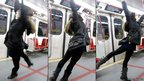 Swinging on an underground train