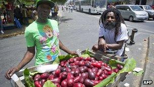 Street vendors in Kingston - June 2012