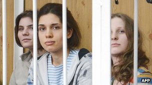 Pussy Riot, pictured at a court hearing in July
