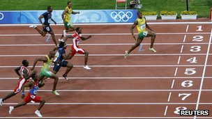 Usain Bolt winning the 100m men's final in 2008