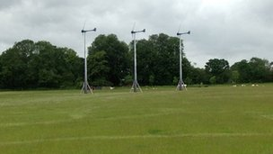 Mock up of wind turbines in Laxfield