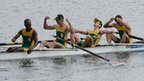 South Africa celebrate winning gold in men's lightweight four final.