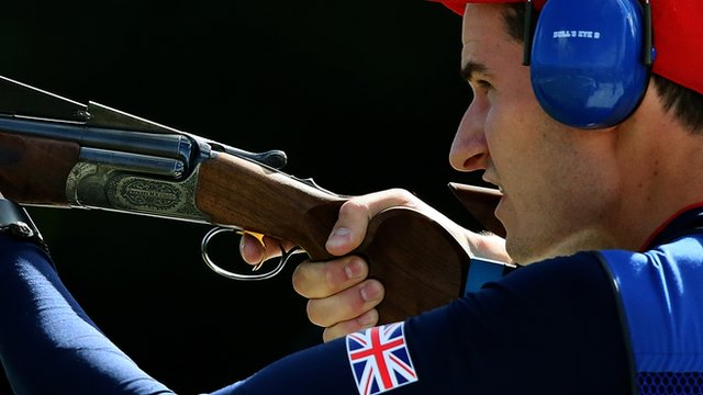 Peter Wilson in action during men&#039;s double trap competition