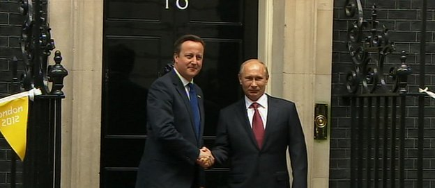 David Cameron welcomes President Putin to Downing Street