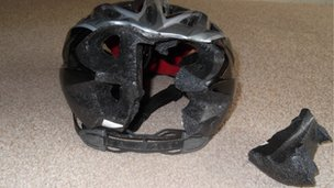 Steve Wilkinson&#039;s helmet after his accident