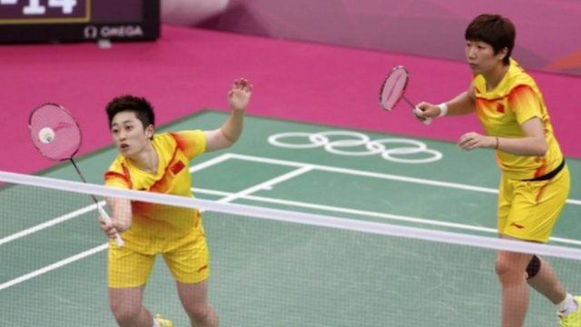 Yu Yang and Wang Xiaoli at the London 2012 Olympics