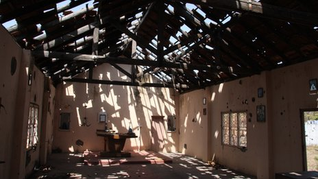 A damaged Catholic church in Sri Lanka