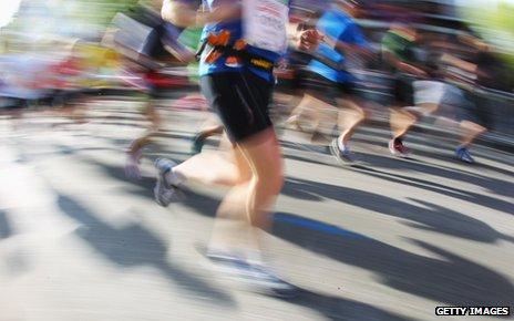 Marathon competitors running