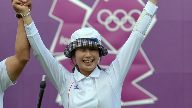 South Korea&#039;s Ki Bo Bae celebrates winning gold in women&#039;s archery individual final.
