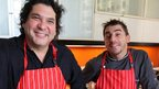 Chefs Gaston Acurio and Jordi Roca collaborate in the kitchen