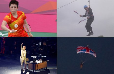 From top left, clockwise: Chinese badminton player Yu Yang, London Mayor Boris Johnson, two scenes from the Olympic opening ceremony