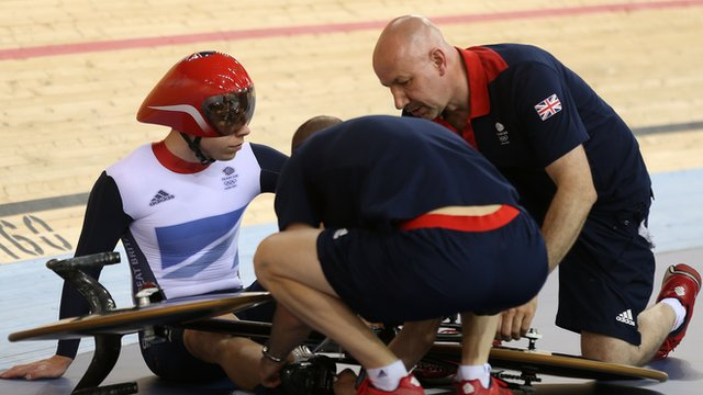 GB&#039;s Philip Hindes on floor at Olympics