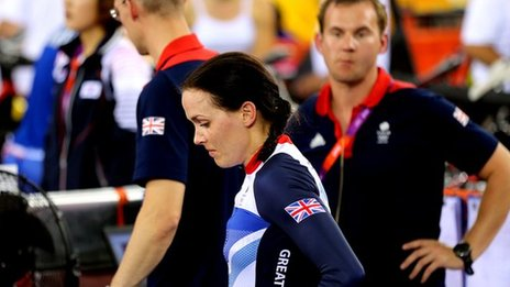 Victoria Pendleton after disqualification.