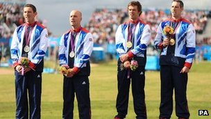 (L-r) David Florence and Richard Hounslow with their silver medals and Tim Baille and Elienne Stott with their Gold medals 