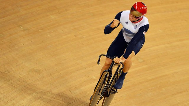 Chris Hoy celebrates as Great Britain win gold in team sprint