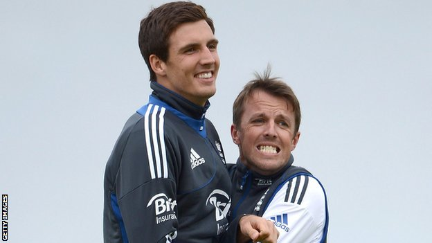 Steven Finn (left) was preferred to Graeme Swann