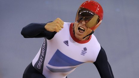 Sir Chris Hoy celebrating