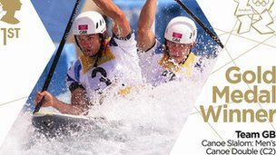 Gold medal stamp - Men&#039;s canoe slalom