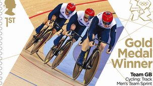 Gold medal stamp - men&#039;s cycling team sprint
