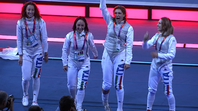 Italy's women's foil team celebrate gold