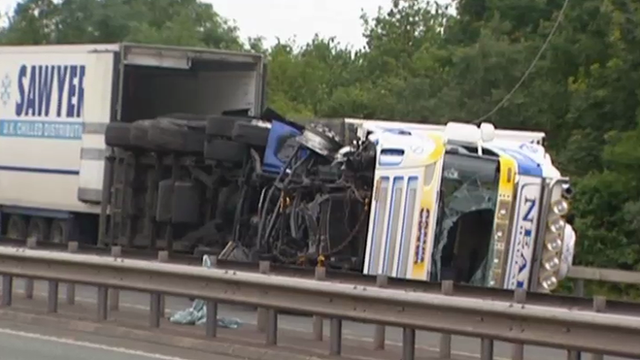 The A55 lorry crash