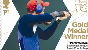 Gold medal stamp - men&#039;s double trap