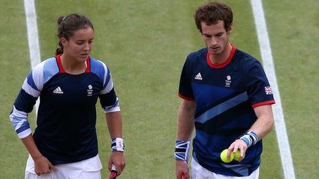 Laura Robson and Andy Murray in action for Great Britain against Czech Republic