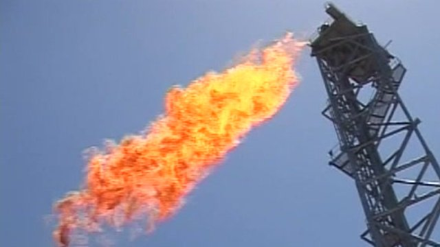 Flame spewing from off shore oil drill
