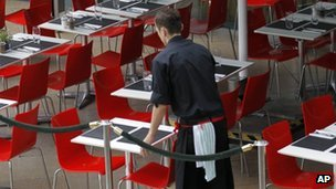 Waiter at a restaurant in central London