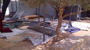 Refugees&#039; sleeping quarters in the Bashabsheh transit centre in Jordan
