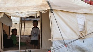 Syrian child refugees at the Zaatari tent city in Jordan on 31 July 2012