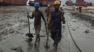 Workers at a ship yard in Bangladesh