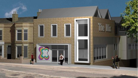 Artist's impression of the front of The Mix, Stowmarket