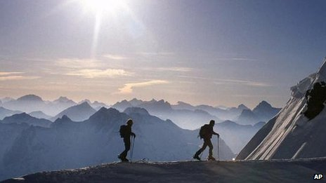Skiers in the Alps