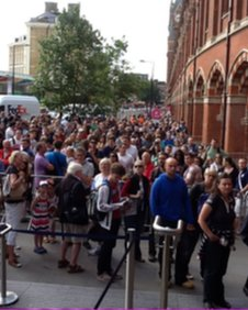 Queues outside St Pancras International