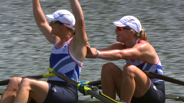 Great Britain&#039;s Kath Grainger and Anna Watkins power to a sensational double scull gold at Eton Dorney.