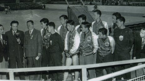 China's basketball team beat Great Britain during the 1948 Games