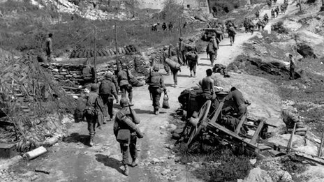 US troops make their way up into the hills. From the book Monte Cassino: Ten Armies in Hell by Peter Caddick-Adams