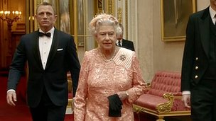 Daniel Craig as James Bond and the Queen in an image from the Opening Ceremony