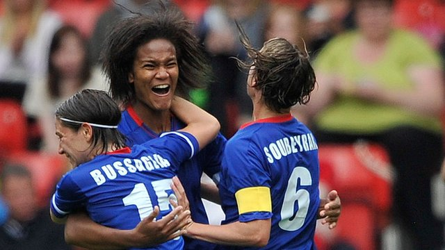 Wendie Renard of France celebrates her goal in Quarter Final V Sweden.