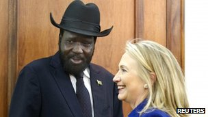 US. Secretary of State Hillary Clinton (R) meets with South Sudanese President Salva Kiir at the Presidential Office Building in Juba August 3, 2012.