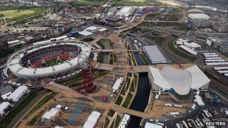 Aerial view of London's Olympic Park