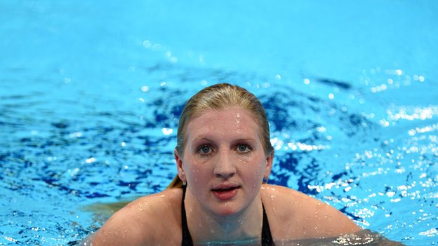 Adlington in swimming pool.
