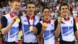Team GB celebrate winning pursuit gold