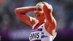 Jessica Ennis reacts to setting a heptathlon 100m hurdles record of 12.54 seconds