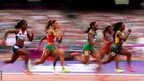 Abiodun Oyepitan of Great Britain, Ivet Lalova of Bulgaria, Gloria Asumnu of Nigeria and Veronica Campbell-Brown of Jamaica
