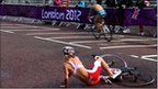 Maria Czesnik of Poland crashes her bike