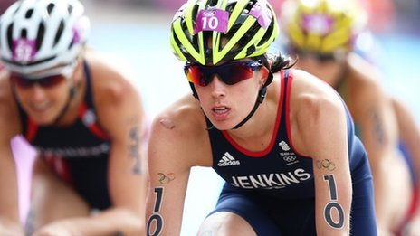 Great Britain's Helen Jenkins competes in the cycling leg of the women's triathlon