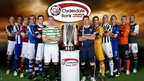 Scottish Premier League club captains with the league's trophy